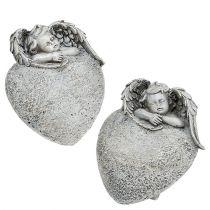 Dekorativt hjerte med engelgrå 10,5cm 2stk
