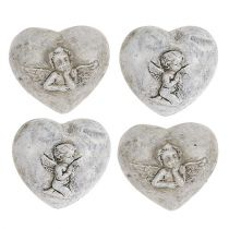 Mini dekorative hjerter med engel 4cm grå 8stk