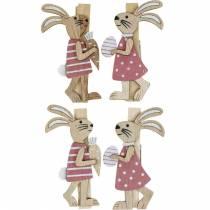 Dekorative klips kaniner Påskeharer rosa, hvitt tre Påskedekorasjon 4stk