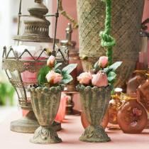 Dekorativ kopp, antikk utseende, metall, mosegrønn, Ø9cm, H14,5cm