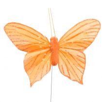 Dekorativ sommerfugl oransje 12stk