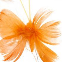 Sommerfugler i oransje toner, vårdekorasjon vårsommerfugler på en tråd 6stk