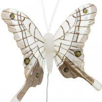 Dekorative sommerfugler hvit, brun fjærsommerfugl på tråd 7,5 cm 6stk
