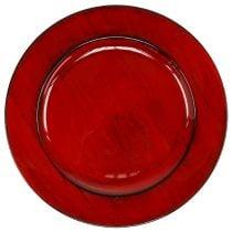 Dekorativ plate Ø28cm rød-svart plast