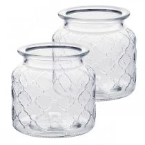 Dekorativ lanterndiamantmønster, glasskar, glassvase, stearinlysdekorasjon 2stk