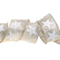 Julebånd med stjernemønster natur, sølv 40mm 15m