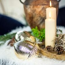 Dekorativ eikenøtt keramisk gyllen borddekorasjon Jul 13,5cm 2stk