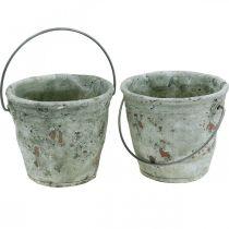 Dekorativ bøtte, keramikk for planting, hagedekorasjon, plantebøtte antikk optikk Ø13,5cm H12cm 2stk