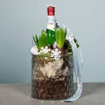 Dekorativt glass, lykt med diamantmønster, glasskar Ø15cm H15cm