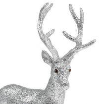 Deco hjort sølv, glimmer H32cm B25cm