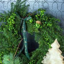 Dekorativ krans store nåletre, kjegler og buksbomgrønn 70cm