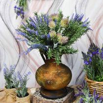 Dekokanne antikk utseende vase vintage metall hagedekorasjon H26cm