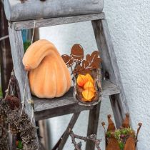 Dekorativ gresskar buet oransje flokket Kunstig dekorativ gresskar 18cm