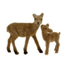 Deco hjort 10cm med fawn brun flokket sett