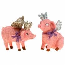 Dekorativ figur gris med krone 9cm 2stk