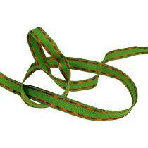 Deco bånd grønt med trådkant 15mm 15m