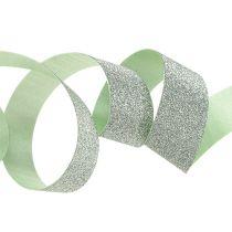 Dekorativt bånd lysegrønt med glimmer 10mm 150m