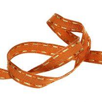 Dekorativt bånd oransje med trådkant 15mm 15m