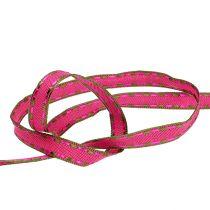 Dekorativt bånd rosa med trådkant 15mm 15m