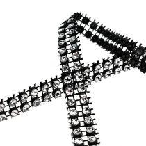 Deko bånd svart, sølv 10mm 4m
