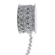 Dekorativt bånd sølvblank 10mm 9m