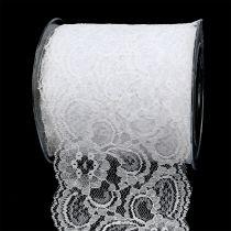 Dekorativ båndblonde 100mm 10m hvit