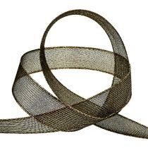 Deco bånd med lurex striper svart 25mm 20m