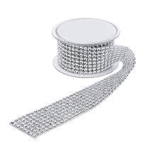 Dekorativt bånd med streeteffekt sølv 40mm 2m