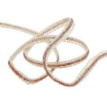 Deco bånd smal krem med wire 8mm 15m