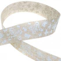 Deco bånd med sommerfugler brun 25mm stoffbånd gavebånd 20m