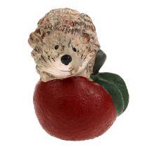 Dekorativ figur pinnsvin på eple 7,5 cm keramisk