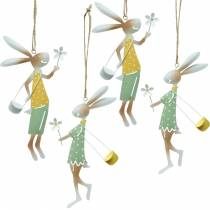 Dekorative figurer, par kaniner, metallpynt, påskeharer å henge opp, vårdekorasjon 4stk