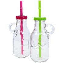 Dekorative flasker med lokk og sugerør H14,5cm