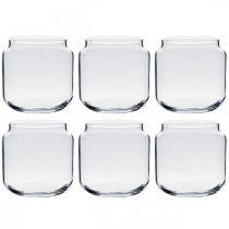 Dekorativt glass, blomstervase, glasslykt, borddekorasjon Ø10cm H10cm 6stk