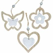 Dekorasjon henger hjerte blomst sommerfugl natur, sølv tre dekorasjon 6stk