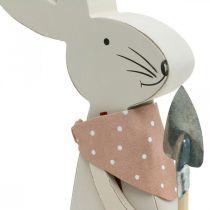 Dekorativ kanin med spade, kaninegutt, påskedekorasjon, trekanin, påskehare