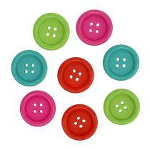 Dekorative knapper av tre, assortert. Ø2,5cm 72stk