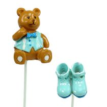 Dekorativ plug bear, sko blå 1,5-4cm 16stk