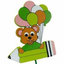 Dekorativ pluggpenn med bamse og ballonger blomsterplugg sommerdekorasjon barn 16stk