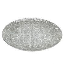 Dekorativ plate sølv med ornament Ø32cm