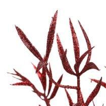 Dekorativ gren rød med glimmer 69cm 2stk