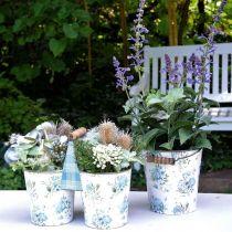 Dobbel blomsterpotte sommerdekorasjonsplanter metall med håndtak vintage look Ø11,5cm