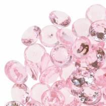Dekorative steiner diamant akryl lysrosa Ø1,2cm 175g til bursdagsdekorasjon