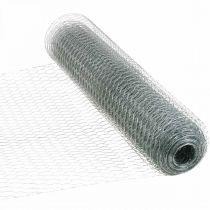 Sekskantet flettetråd, sølvgalvanisert, kanintråd 50cm × 10m