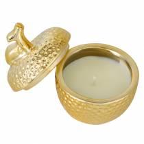 """Duftlys """"Spiced Apple"""" i eple smykkeskrin gull Ø7,2cm H8,5cm"""