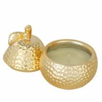"""Duftlys """"Magnolia & Pear Blossom"""" i en pære smykkeskrin gull Ø7,4cm H9cm"""