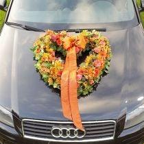 Blomsterskum hjerte åpent blomsterstoff grønt 38cm 2stk bryllupsdekorasjon