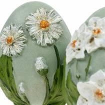 Påskeegg med blomstermotiv tusenfryd og påskeliljer blå, grønn gips assortert 2stk