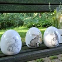 Egg keramisk hvit med kaninmotiv Ø12,5cm H16cm 2stk