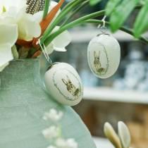 Egg å henge keramisk hvit kanin Ø5,5cm H7,6cm 12stk